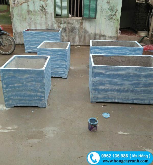 Chậu vuông 40x40cm sơn xanh